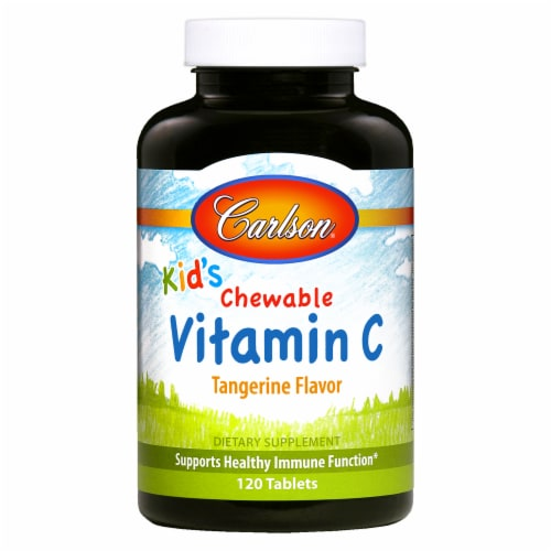 Carlson Kids Chewable Tangerine Flavor Vitamin C Perspective: front
