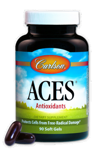 Carlson Aces Anitoxidants Vitamins A C & E Soft Gels Perspective: front