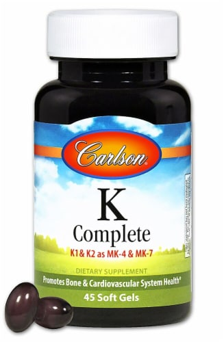 Carlson  K Complete K1 & K2 as MK-4 & MK-7 Supplements Perspective: front