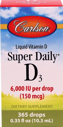 Carlson  Super Daily® D3 Liquid Vitamin Perspective: front