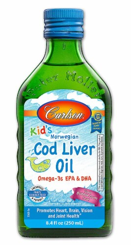 Carlson for Kids Norwegian Cod Liver Oil Bubble Gum Flavor Liquid Perspective: front