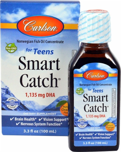 Carlson Smart Catch for Teens Orange Flavor Fish Oil Concentrate 1135mg Perspective: front