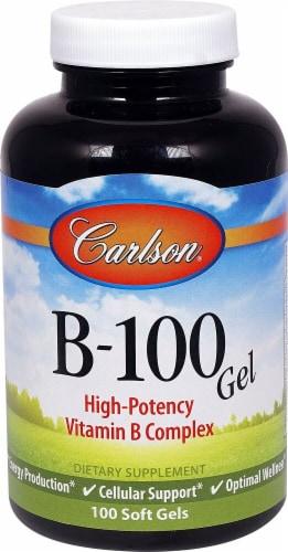 Carlson B-100 Gel Vitamin B-Complex Soft Gels Perspective: front