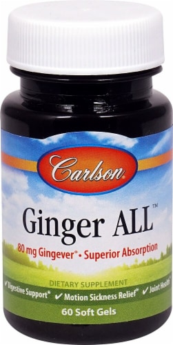 Carlson Ginger ALL Soft Gels 80mg Perspective: front