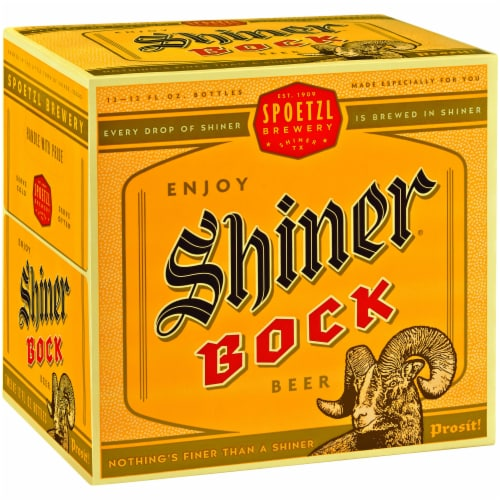 Shiner Bock Lager Beer Perspective: front