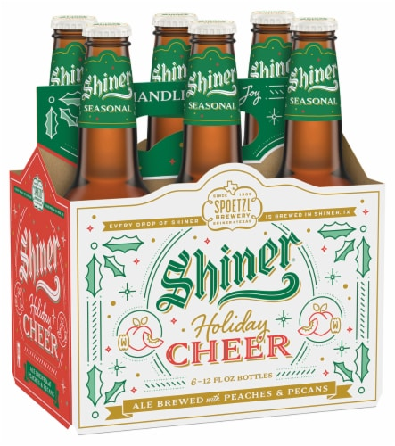 Shiner Hill Country Peach Wheat Ale Beer Perspective: front