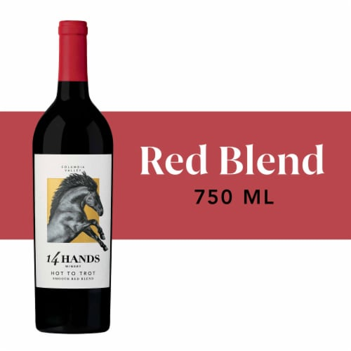 14 Hands Hot To Trot Smooth Red Blend Wine Perspective: front