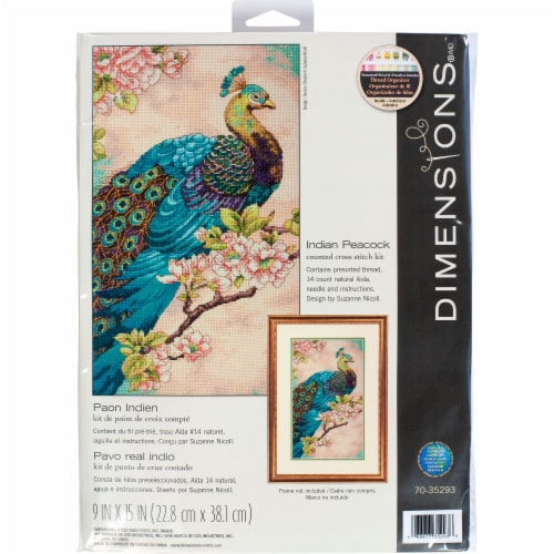 Dimensions® Indian Peacock Counted Cross Stitch Kit Perspective: front