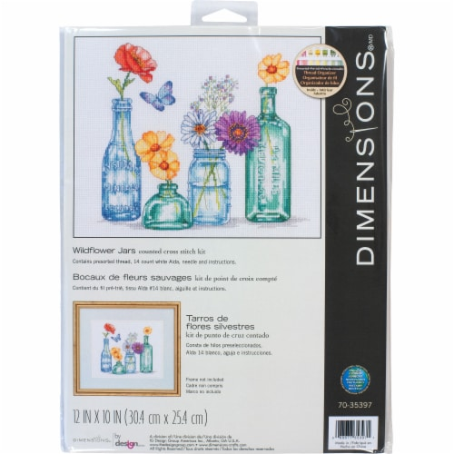 Dimensions® Wildflower Jars Counted Cross Stitch Kit Perspective: front