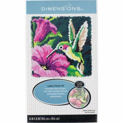 Dimensions® Hummingbird Latch Hook Kit Perspective: front