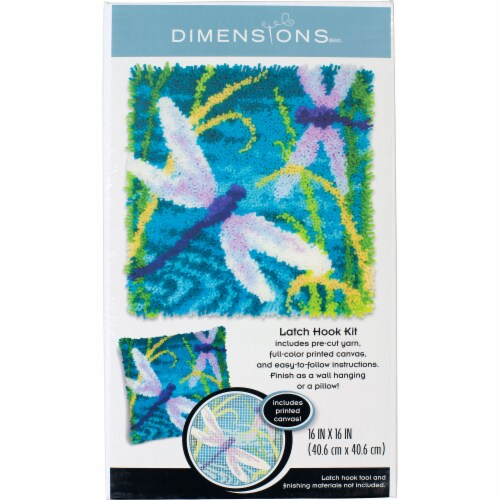 Dimensions® Dragonflies Latch Hook Kit Perspective: front