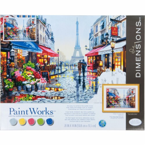 Dimensions® PaintWorks™ Paris Flower Shop Paint by Number Kit Perspective: front