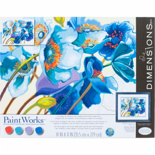 Dimensions® PaintWorks Blue Poppies Paint by Number Kit Perspective: front