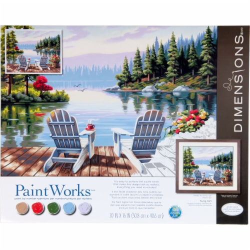 Dimensions® PaintWorks™ Lakeside Morning Paint by Number Kit Perspective: front
