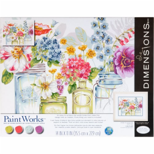 Dimensions® PaintWorks™ Rainbow Flowers Paint by Number Kit Perspective: front