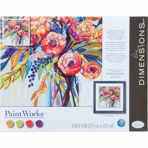 Dimensions® PaintWorks™ Floral Celebration Paint by Number Kit Perspective: front