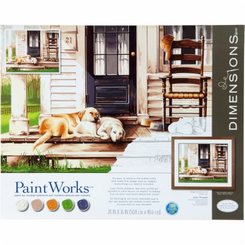 Dimensions® PaintWorks™ Lazy Dog Day Paint by Number Kit Perspective: front