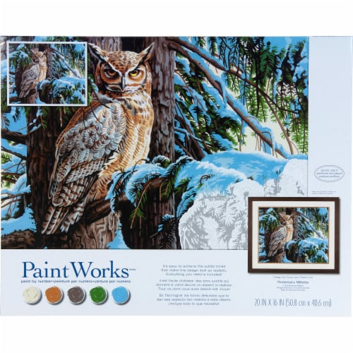 Dimensions® PaintWorks™ Great Horned Owl Paint by Number Kit Perspective: front