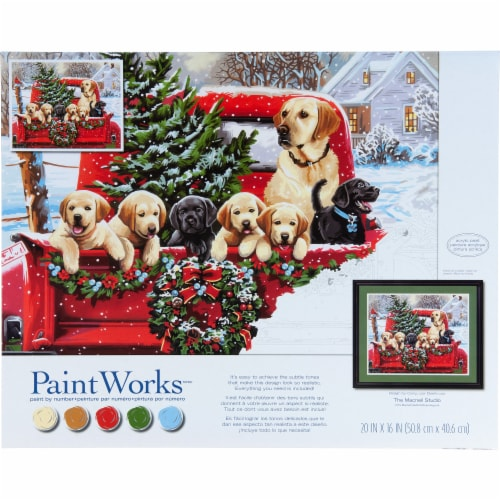 Dimensions® PaintWorks™ Holiday Puppy Truck Paint by Number Kit Perspective: front