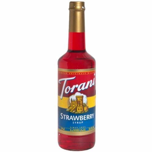 Torani Strawberry Coffee Syrup Perspective: front