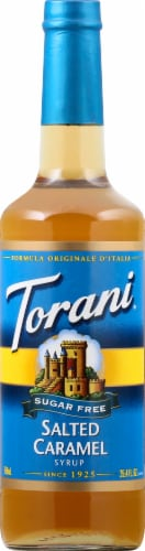 Torani Sugar Free Salted Caramel Syrup Perspective: front