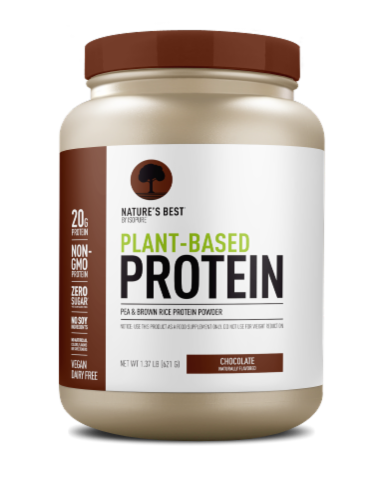 Nature's Best Plant Based Vegan Chocolate Protein Powder Perspective: front