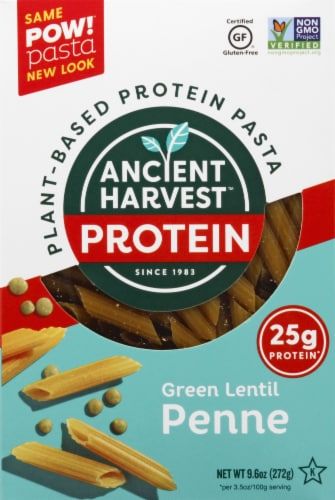 Ancient Harvest Plant-Based Green Lentil Penne Pasta Perspective: front