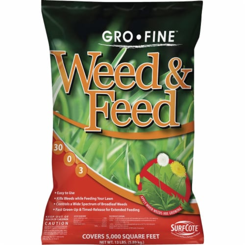 Gro-Fine Weed & Feed 13 Lb. 5000 Sq. Ft. 30-0-3 Lawn Fertilizer with Weed Killer Perspective: front
