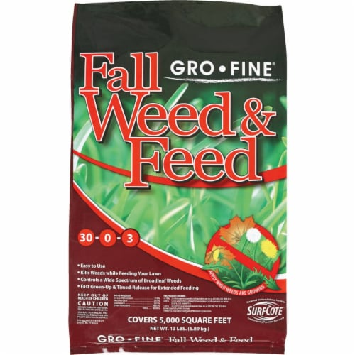 Gro-Fine 13 Lb. 5000 Sq. Ft. 28-0-6 Winterizer Fall Weed & Feed Fertilizer Perspective: front