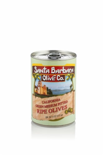 Santa Barbara Olive Co. Green Medium Pitted Olives Perspective: front