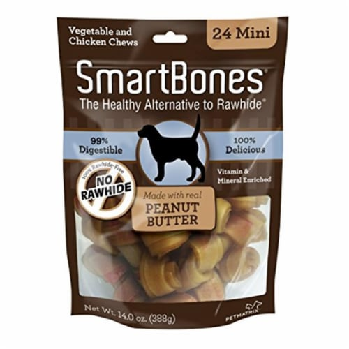 Spectrum Brands Pet 236132 Smart Bones Peanut Butter Dog Chew, Mini - Pack of 24 Perspective: front