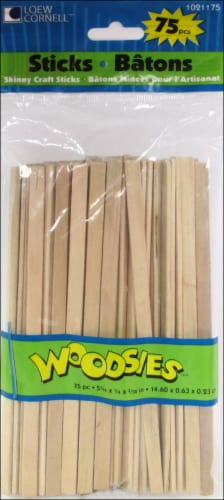Loew Cornell Woodsies Skinny Sticks - 75 Count - Natural Perspective: front