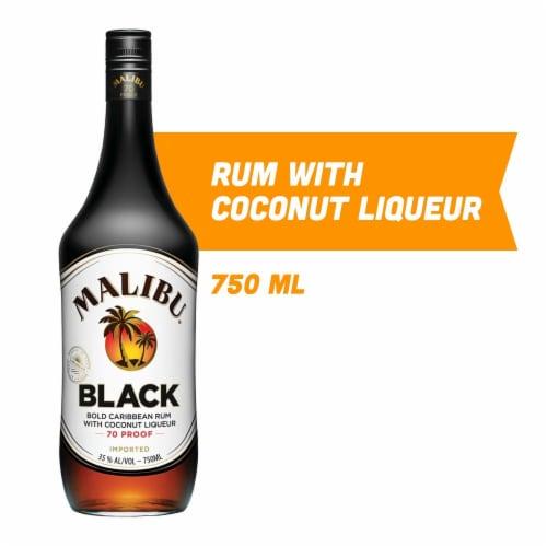 Malibu Black Caribbean Rum with Coconut Liqueur Perspective: front