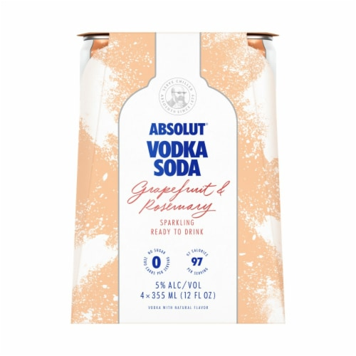 Absolut Vodka Grapefruit Ready to Drink Vodka Soda Perspective: front