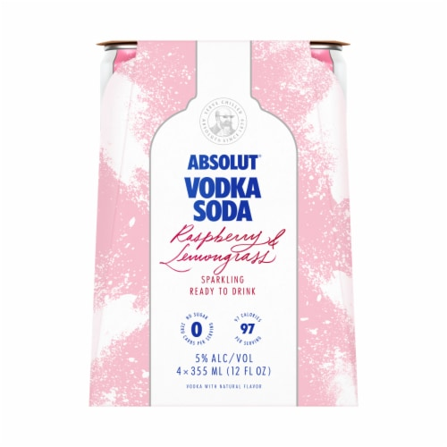 Absolut Vodka Raspberry Ready to Drink Vodka Soda Perspective: front