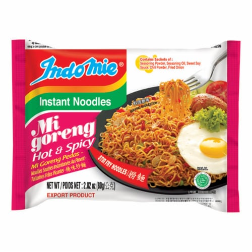 Indomie Mi Goreng Hot & Spicy Stir Fry Noodles Perspective: front