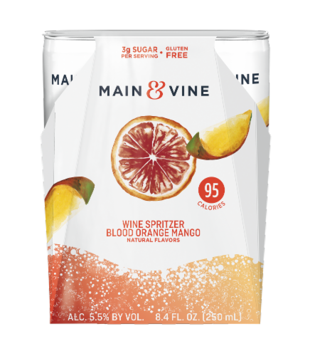 Main & Vine Blood Orange Mango Wine Spritzers Perspective: front