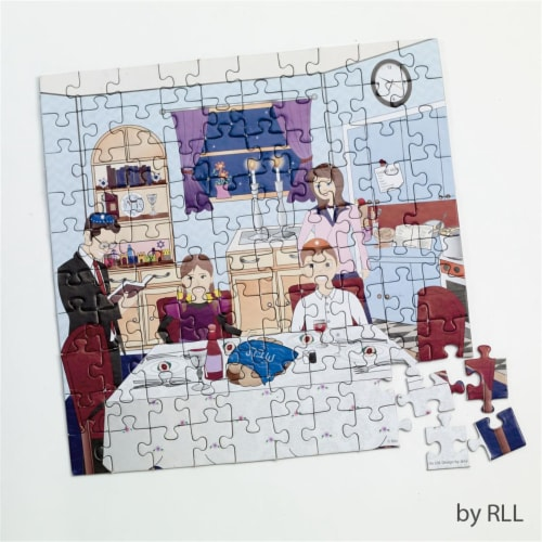 Rite Lite TY-JIGS-SHAB Shabbat Jigsaw Puzzle - 10 x 10 ft., Piece of 100. Perspective: front