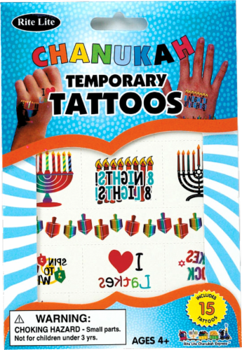 Rite Lite Chanukah Temporary Tattoos Perspective: front