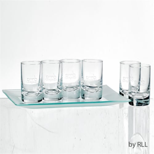 Rite Lite KCGL-SET LChaim Cordial Set of 6 Glasses with Frosted Tray Perspective: front