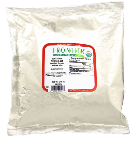 Frontier Organic Cut & Sifted Alfalfa Leaf Perspective: front