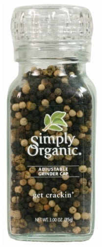Simply Organic Get Crackin' Three-Peppercorn Blend with Adjustable Grinder Cap Perspective: front