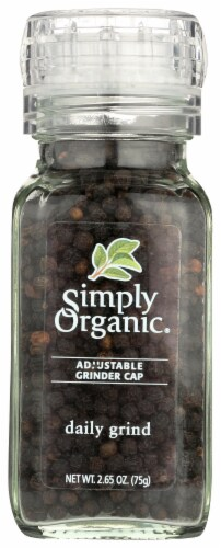 Simply Organic Daily Grind Black Peppercorn with Adjustable Grinder Cap Perspective: front