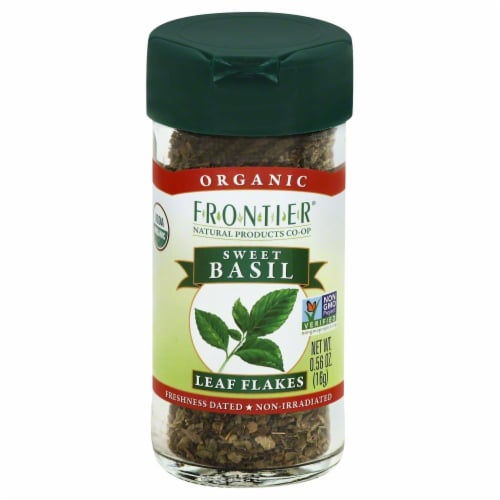 Frontier Organic Sweet Basil Leaf Flakes Perspective: front