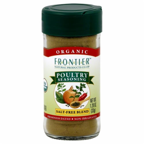 Frontier Organic Poultry Seasoning Salt-Free Blend Perspective: front