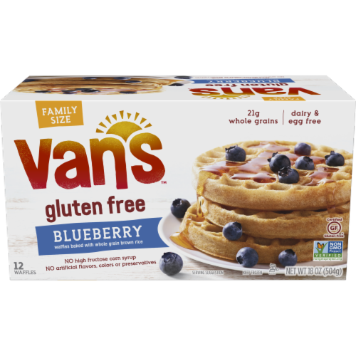 Van's Gluten Free Blueberry Waffles Family Size 12 Count Perspective: front