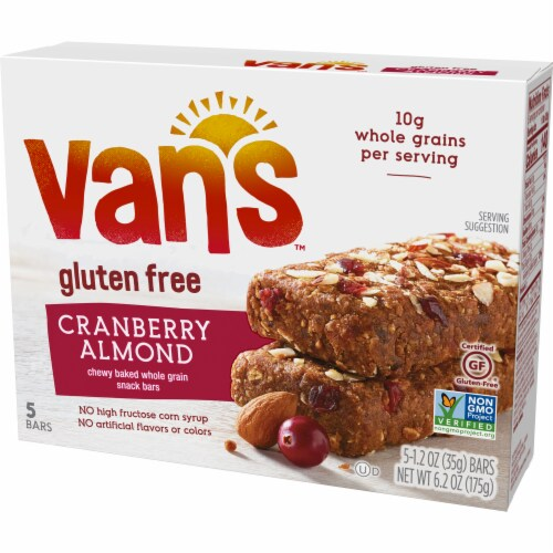 Van's Gluten Free Cranberry Almond Chewy Snack Bars Perspective: front