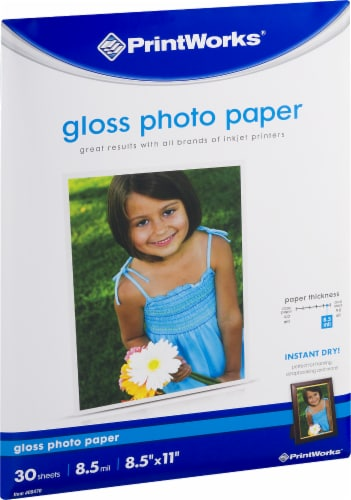 PrintWorks Glossy Photo Paper - 30 Pack - White Perspective: front