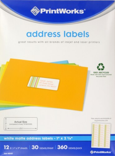 Printworks Matte Address Labels - 360 pk - White Perspective: front