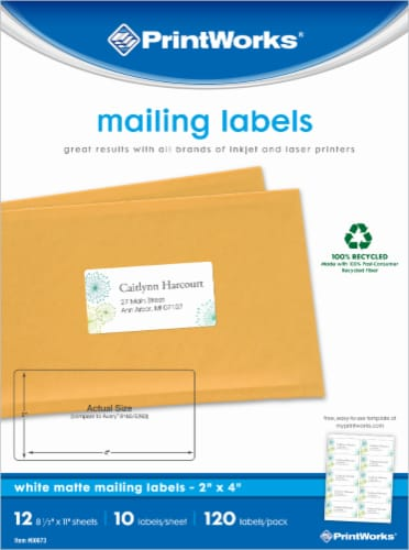 Printworks Mailing Labels - 120 pk - White Perspective: front